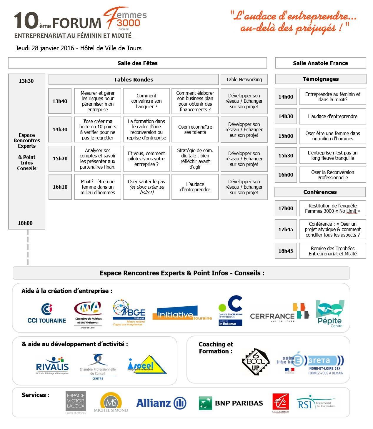 Programme 10e Forum entrepreneuriat au féminin et mixité