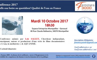 Conférence : Quelle eau boire au quotidien ? Qualité de l'eau en France