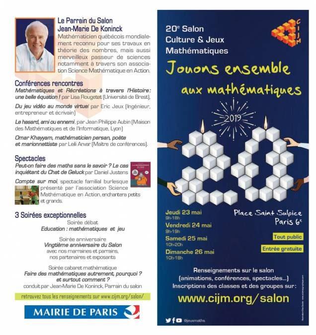 «Jouons ensemble aux mathématiques» du 23 au 26 mai 2019