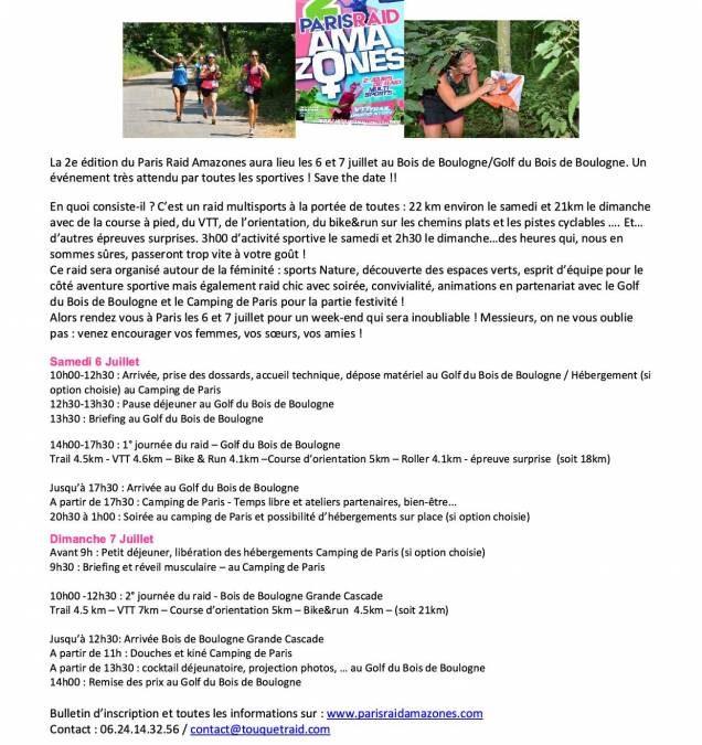 Entraînement le mardi 21 mai 2019 au Golf du Bois de Boulogne avec le Paris Raid Amazones