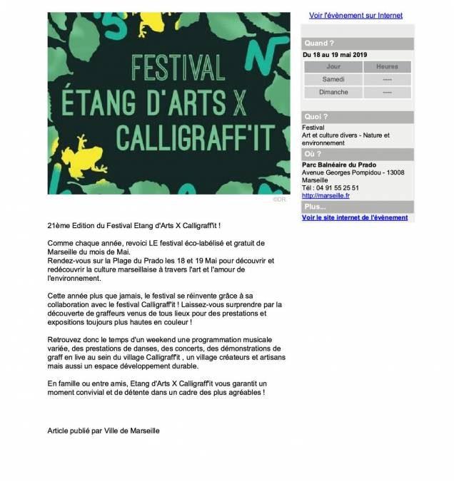 Edition du festival familial pluridisciplinaire Etang d'Arts se déroulera à Marseille les 18 et 19 mai 2019