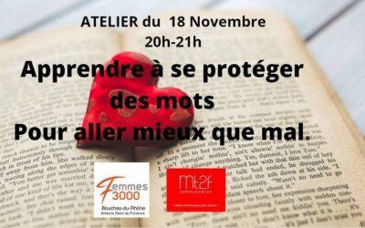 Apprendre à se protéger des mots pour aller mieux que mal le 18 novembre avec l'antenne Salon de Provence
