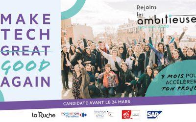 La Ruche lance la 4ème édition de son appel à projets «Les ambitieuses  Tech for Good»